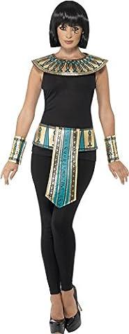 Smiffy's Women's Egyptian Kit, Collar, Cuffs & Belt, One Size, Colour: Gold, 41556