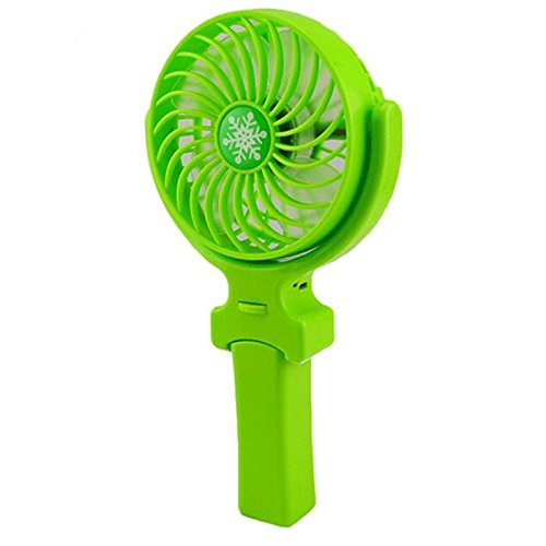 Xuheng Mini Handheld Fan, Foldable Personal Portable Desk Desktop Table Cooling Fan with USB Rechargeable Battery Operated Electric Fan for Office Room Outdoor Household Traveling (3 Speed Green)