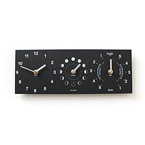 Eco Black Recycled Moon Phase, Time & Tide Clock
