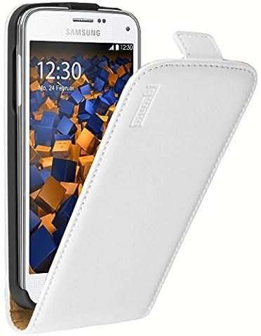 mumbi PREMIUM Leder Flip Case für Samsung Galaxy S5 Mini Tasche weiss
