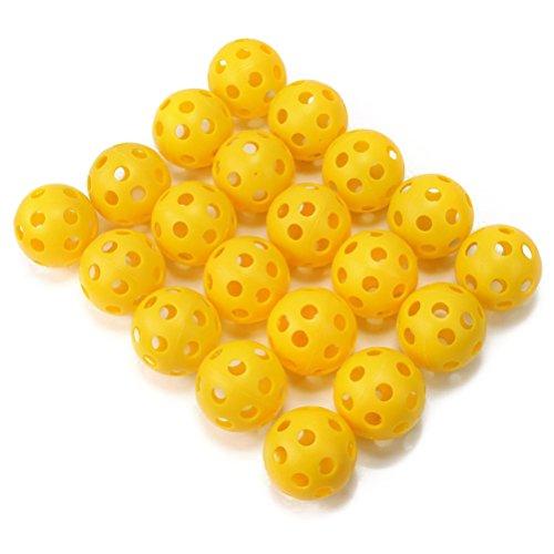 PIXNOR Trainingsbälle Golfbälle Airflow für Golf Uben 20Stk (Gelb) (Storage Ausbildung)