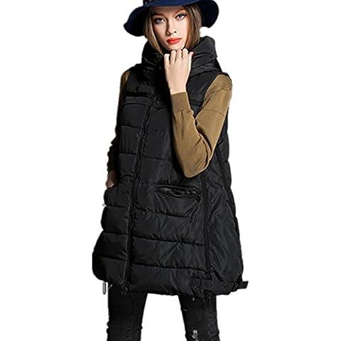 XYXY Chaleco abrigo abrigos y chaquetas de algodón con capucha de las mujeres . black . xxl