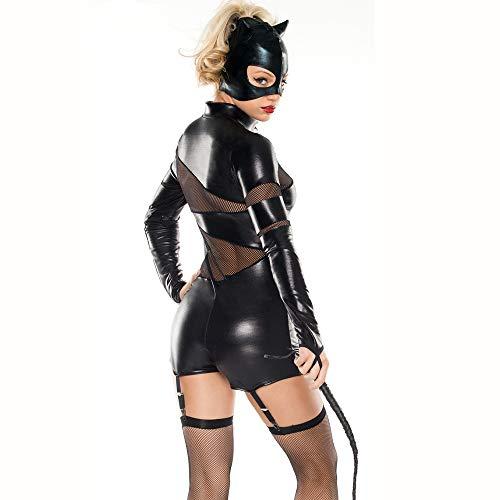 Woman Kostüm Wonder Latex - HJG Catwoman Kostüm für Damen, schwarzer Overall Halloween-Kostüme mit Horn-Stirnband oder Maske