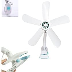 Fast World Shopping Ventilateur de table à 5 pales Avec pince Ventilateur Portable