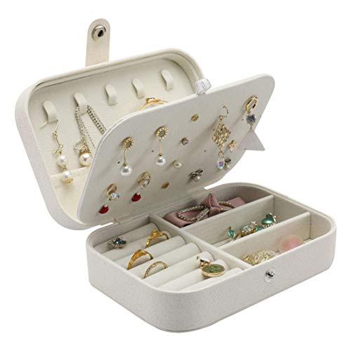Sonnis Mini Scatole Portagioie Gioielli da Viaggio da Donna Organizzatore da 2 Strati Portable da Gioielleria per Anelli Orecchini Collane Bracciali, 16,5 x 11,5 x 5,5 cm