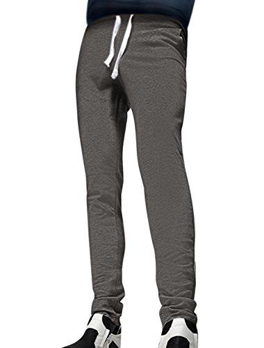 32 , Dark Gray : Generic Men Drawstring Elastic Waist Tapered Slim Fit Pants