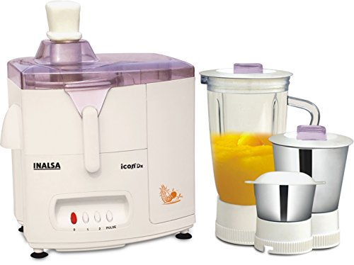 Inalsa Icon Dx 500-Watt Juicer Mixer Grinder with 3 Jars (White)  available at amazon for Rs.2586