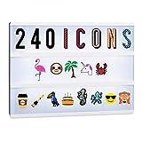 Relaxdays - Juego de Accesorios para Caja de luz (240 Iconos, Incluye Letras y números, símbolos de Caja de luz, 6,5 x 3,5 cm)