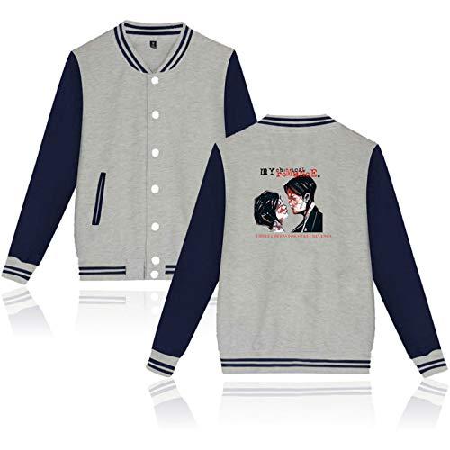 Unisex langärmelige Jacke My Chemical Romance Printed Herbst-Winter-Baseball Coats Hip Hop Outwear (4,L)