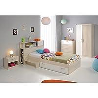 Kinderzimmer 4-teilig grau / weiß akazie inkl Kommode + Kinderbett Bettkasten + Nachtkommode + Kleiderschrank Jugendzimmer preisvergleich bei kinderzimmerdekopreise.eu