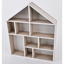 haus setzkasten deko modern design holz natur 42x35x7cm - Holz Deko Modern