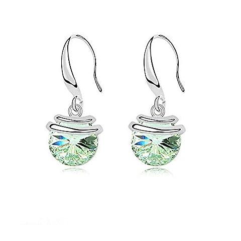 Rarelove Swarovski Austrian Green Crystal Elements 18K White Gold Embed Round Dangle earrings