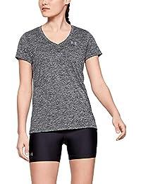 Under Armour Damen kurzärmliges & atmungsaktives Laufshirt für Frauen, ultraleichtes T-Shirt mit loser Passform Tech Short Sleeve V - Twist