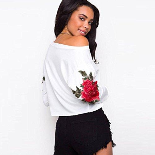 Damen Langarmshirt Longra Frauen Appliques Blume lose lange Ärmel Tops Bluse Shirt Casual T-Shirt White