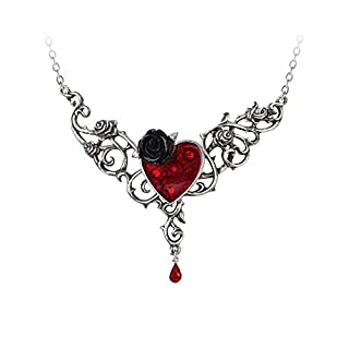Alchemy Gothic Blood Rose Heart Necklace