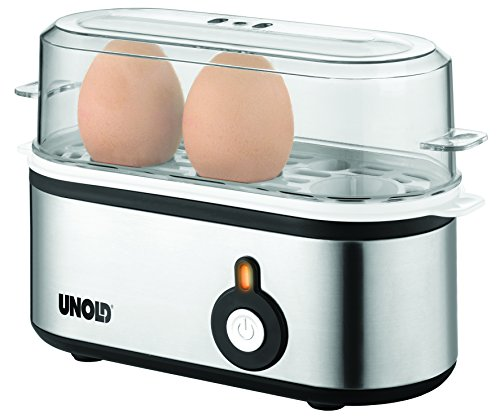eierkocher fuer 3 eier Unold 38610 Eierkocher Mini, Edelstahlgehäuse, 1-3 Eier, 210 W