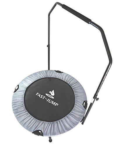 FAST-JUMP Faltbares Mini Fitness Trampolin Indoor -Maximale Tragfähigkeit: 150 kg – Ø 92 cm – Grau