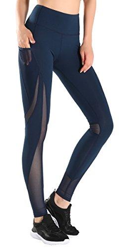 Taille Yoga Hose Workout Neun Punkte Knöchel Capris Leggings Seitentasche für 5,5