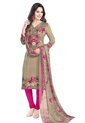 Salwar Studio Women's Beige & Pink Synthetic Floral, Striped Printed Dress Material...