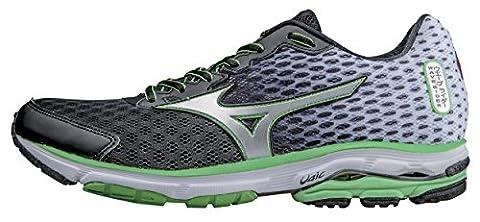 Mizuno Men's Wave Rider 18 Running Shoe,Black/Silver,10 D US, Black-Silver-Classic Green, 43
