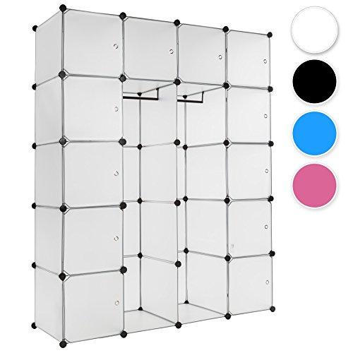 TecTake XXL Steckregal Kleiderschrank Schrank Regal Kunststoff mit Kleiderstange 147x47x183cm - diverse Farben - (Weiß | Nr. 401579)