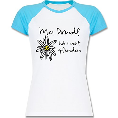 ... Raglan T-Shirt für Damen Weiß/Türkis. Oktoberfest Damen - Dirndl net  g'funden - Shirt statt Dirndl - zweifarbiges Baseballshirt /