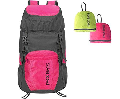 PACK BAGS Faltbarer Rucksack 40 Liter (Farbe wählbar) für Einkauf, Tagesausflüge, Städte-Trips, Reisen | Ultraleicht (340 g) | Perfektes faltbares Handgepäck f. extra Stauraum | Herren & Damen (Pack-rucksack)