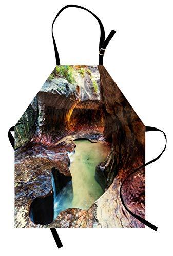 Zion National Park Schürze, Natur thematische Szene im Freien von Amazing Rocky Narrows und Creek Foto, Unisex-Küche Latzschürze mit verstellbarem Hals für das Kochen Backen Gartenarbeit, ()
