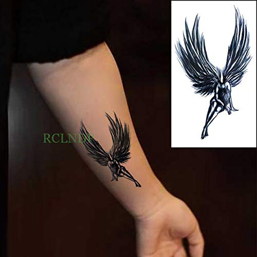 ljmljm 5pcs Wasserdicht Tattoo-Aufkleber Engels-Flügel TATOUAGE Tatto Tattoo Body Art Fuß Hand Rücken für Frauen-Mann-Mädchen Ladyba Monochrome 10.5x6cm