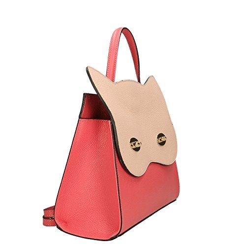 Chicca Borse Handbag Borsa a Mano in Vera Pelle Made in italy - 32x28x13 Cm Corallo - Rosa