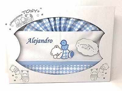danielstore-Sabanas 100% Algodon Cuna Personalizada con nombre bordado (bajera, encimera y funda almohada) Color azul