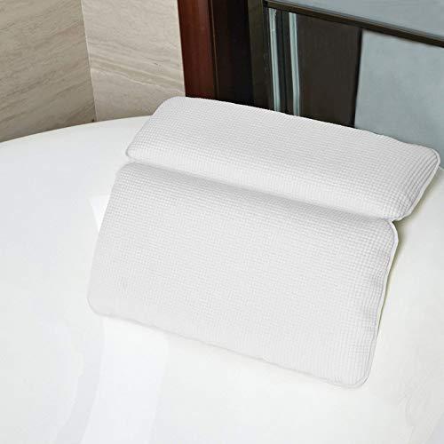 Kapmore Badewannenkissen, Badewanne Kopfkissen Nackenpolster Wannenkissen Spa Angenehm für Männer und Frauen,die Eine Entspannende Spa-Erlebnis im Haus oder Reisen (White)