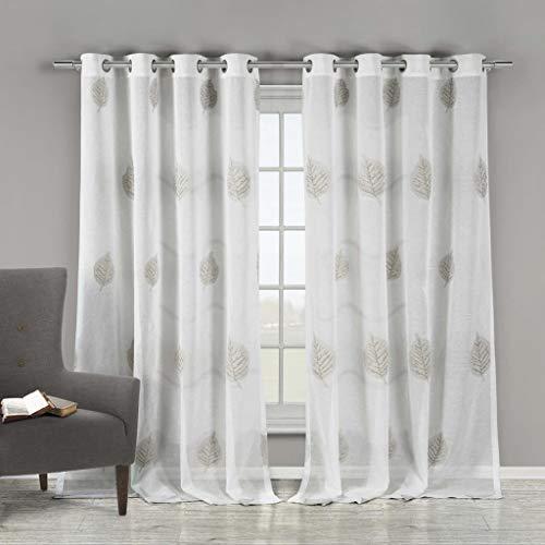 Duck River Textiles Home Maison - Patsa Vorhänge aus Kunstseide, beflockt, Blumenmuster, für Wohnzimmer und Schlafzimmer, 96,5 x 213,4 cm, Weiß/Taupe
