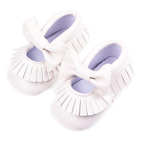 Baby Quaste Weiche Lederschuhe Mit Hellen Bowknot Dekor Krippe Schuhe - silber, 11 weiss
