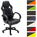 CLP Silla de oficina FIRE, asiento de LUJO ajustable en altura con un revestimiento de cuero sintético, 7 colores para elegir noir