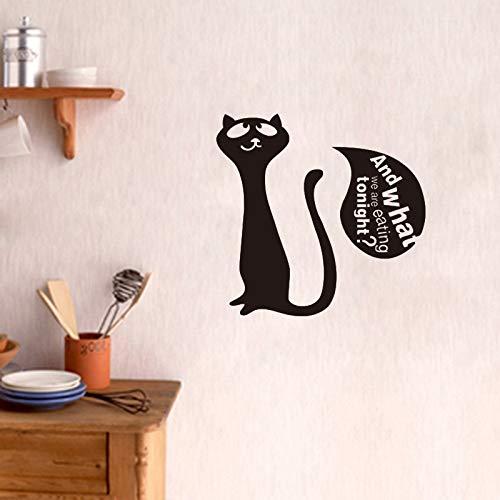 guijiumai Aufkleber Nette Katze Kätzchen was Essen wir Vinyl Wandaufkleber Aufkleber Wandbild Wandkunst Küche Kühlschrank Fliesen Wohnkultur Haus Dekor40X45CM