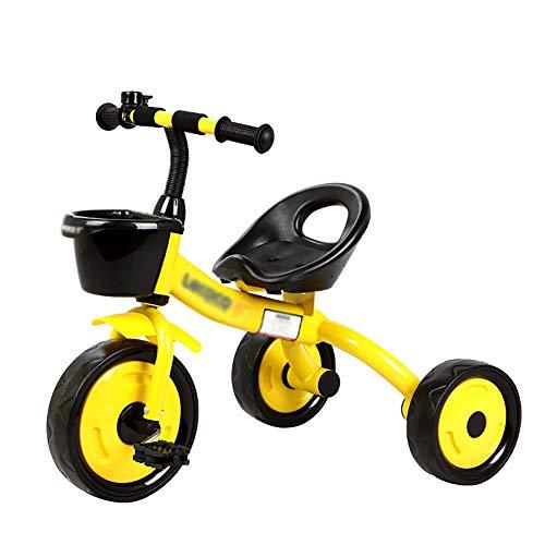 DBSCD Trikes für Kleinkinder, 3 Rad Fahrrad Kind Dreirad Fahrrad Baby Spielzeug Kinderwagen 2-6 Jahre Alt Jung (Farbe: Gelb)