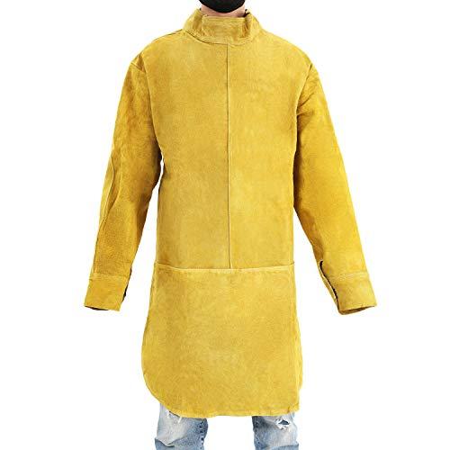 Babimax Delantal de Soldadura de Cuero Amarillo Delantal de Split Weld