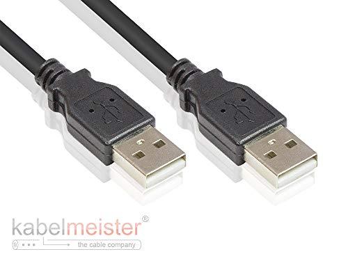 Kabelmeister SO-34034 USB 2.0 Kabel 0,5 m - Stecker A an Stecker A - Folien- und Geflechtschirmung, Kupferadern (OFC) - High-Speed bis zu 480 Mbit/s Schwarz - Folie Usb