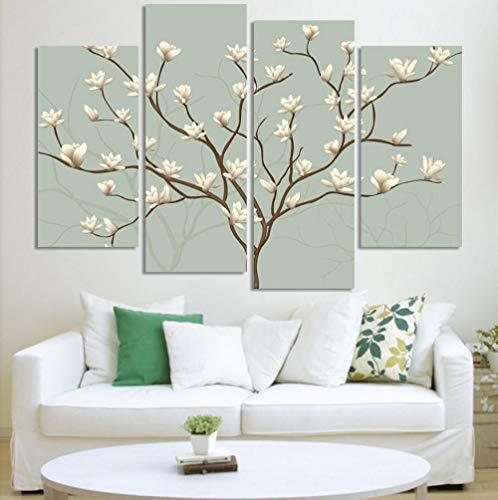 WWWMR Abstrakte Blume Baum Malerei 4 Panels Moderne Öl-Effekt-Gemälde auf Leinwand drucken Wandkunst Geschenk Top Home Decoration-B -