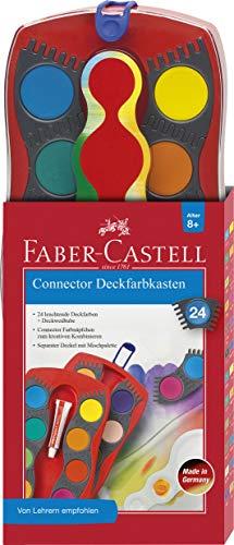 Faber-Castell 125031 - Farbkasten CONNECTOR mit 24 Farben, inklusive Deckweiß, 1 Stück Farbe Deckel