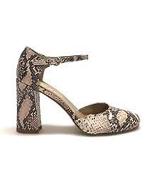d5af614f3978f Shoe gar Maryjane Pitone Rosa Cipria Aperte ai Lati Vera Pelle Made in Italy