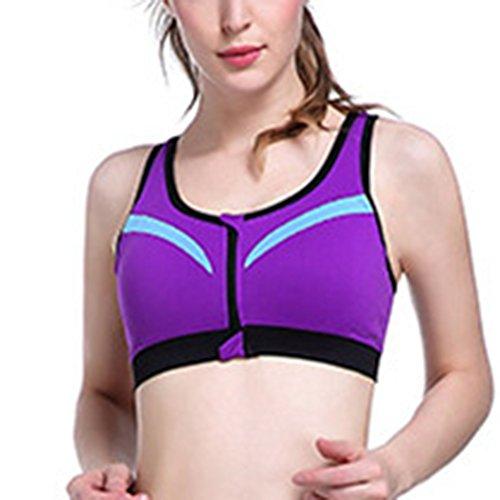 Soutien-Gorge De Sport Femme Brassière Sans Armature Yoga Gym Fitness Devant Zipper Soutien-Gorge Violet