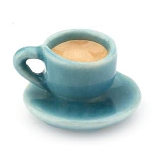 MyTinyWorld Dolls House Miniature Handmade Cup of Coffee / Tea - Aqua Ceramic
