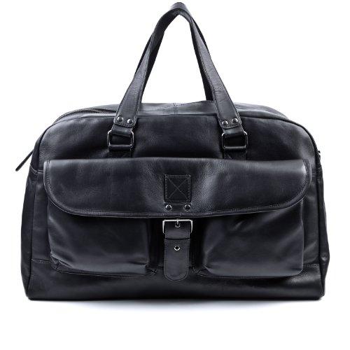 BACCINI Reisetasche DAVE - Weekender groß - Sporttasche echt Leder schwarz