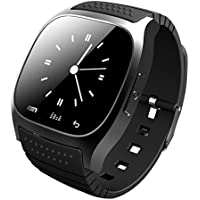 Pandaoo Wearable Bluetooth Smart Watch M26 Smart Health Pedometer Sleep Monitor Alert Wrist Watch Phone Uwatch with SIM Card Camera Slot for Android [Full Functions] IOS[Partial functions] (Black)