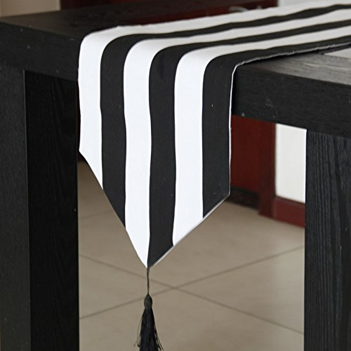 SAEJJ-Tischläufer was macht moderne hochwertige schwarz - weiß gestreiften stoff, tuch - klassiker im westlichen stil lebensmittel geschenk bar für handtücher tischdecke Tischdecke