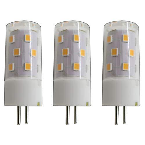 3x Stück - G6.35/ GX6.35 LED 5 Watt warmweiß 2800K A++ 12V~ AC/DC Wechselspannung 360° Stiftsockel Leuchtmittel Lampensockel Spot Halogenersatz Halogen Lampe nicht dimmbar (G6.35/ GX6.35) - 50w Gy6.35 Glühbirne