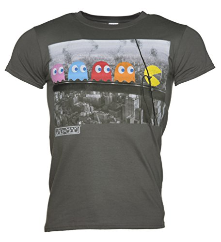 Mens Pac Man Skyscraper T Shirt, Charcoal - S to XXL