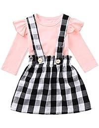 K-youth Conjuntos Niña, Vestidos Bebé Niñas Recién Nacido Bebés Niñas Camiseta de Manga Larga Tops + Enrejado Tutu Princesa Vestido de Fiesta Bautizo Conjunto de Ropa Bebé